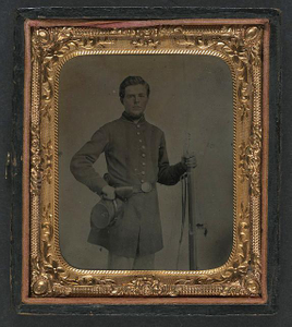 [Unidentified soldier in Union uniform with Company A, 12th Michigan Volunteers Regiment forage cap holding Lorenz musket]