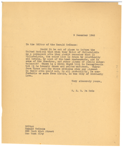 Letter from W. E. B. Du Bois to New York Herald Tribune