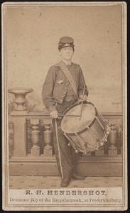 [Drummer boy Robert H. Hendershot of Co. B, 8th Michigan Infantry Regiment in uniform with drum]