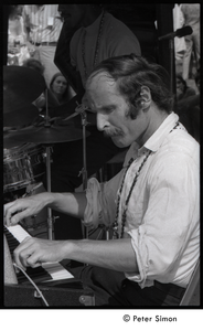 Joe Zawinul on keyboards with the Cannonball Adderley Sextet, performing at Jackie Robinson's jazz concert