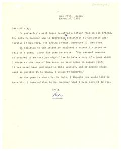 Letter from Reba Foeman to Shirley Graham Du Bois