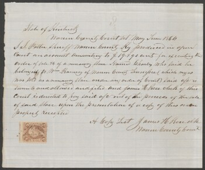 Documents relating to the sale of runaway slave: Charles, belonging to William Ramsey of Tenn., Warren County, Ky.