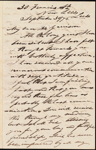 Letter from George Thompson, Leeds, [England], to William Lloyd Garrison, September 30 / [18]70