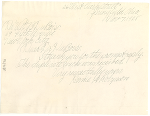 Letter from Bernie H. Robynson to W. E. B. Du Bois