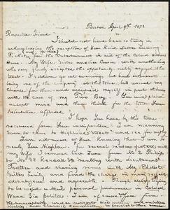 Letter from William Cooper Nell, Boston, [Mass.], to William Lloyd Garrison, April 9th 1873