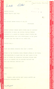 Telegram from West Indian Gazette to Shirley Graham Du Bois