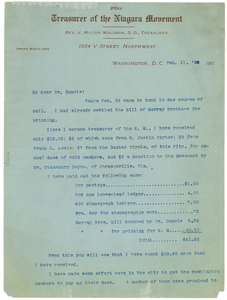 Letter from J. Milton Waldron to W. E. B. Du Bois