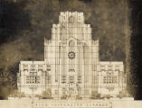 Photograph of architect's schematic of the Fisk University Library building, circa 1929