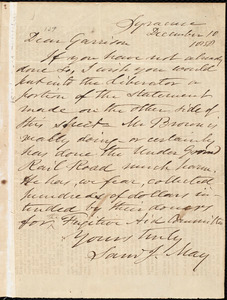 Letter from Samuel Joseph May, Syracuse, [N.Y.], to William Lloyd Garrison, December 10 1858