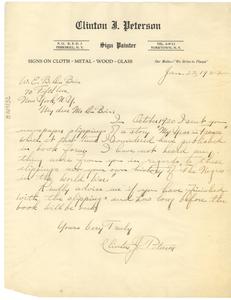 Letter from Clinton J. Peterson to W. E. B. Du Bois