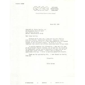 Letter, Judge W. Arthur Garrity, March 28, 1984