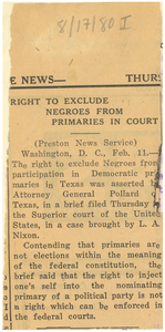 Right to exclude Negroes from primaries in court