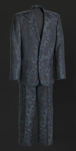 Black, navy, and teal suit worn by Luther Vandross