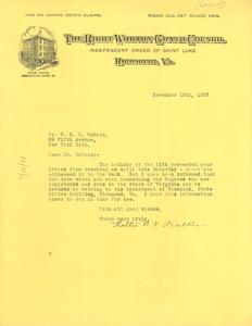Letter from Hattie N. F. Walker to W. E. B. Du Bois