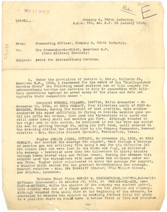 Letter from William W Green to Commander-in-Chief, American Expeditionary Forces
