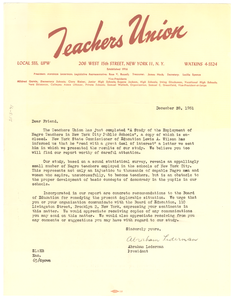 Circular letter from Teachers Union to W. E. B. Du Bois