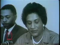 WSB-TV newsfilm clip of attorney Constance Baker Motley commenting on the lawsuit against Lester Maddox and the Pickrick restaurant for discrimination against African Americans, Atlanta, Georgia, 1964