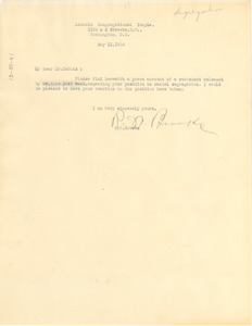 Letter from R. W. Brooks to W. E. B. Du Bois