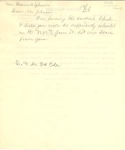 Letter from W. E. B. Du Bois to J. Rosamond Johnson
