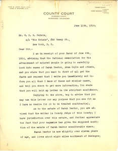 Letter from County Court of Muskogee County Muskogee, Oklahoma to W. E. B. Du Bois