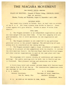 Announcement from W. E. B. Du Bois to Niagara Movement members