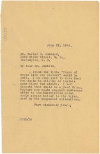 Letter from W. E. B. Du Bois to Carter G. Woodson