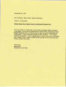 Memorandum from Mark H. McCormack to Jay Michaels, Barry Frank, and Arthur Rosenblum