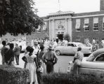 Photograph of crowd, Fehr Elementary School, corner of Fifth Avenue and Garfield Street, Nashville, Tennessee, 1957 September 09