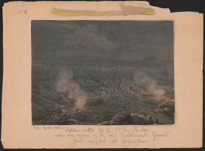 """Sketches with Co. B, 8th Reg. Pa. Ma. under the officers of the old """"Southwark Gaurd"""" [sic] first night at Hagerstown"""