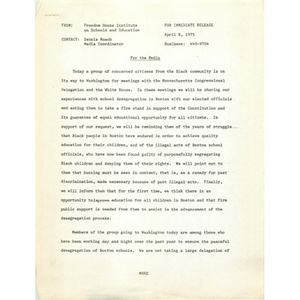 Press release, Freedom House Institute on Schools and Education, April 8, 1975