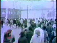 WSB-TV newsfilm clip of demonstration protesting the Georgia legislature's refusal to seat Julian Bond, Atlanta, Georgia, 1966 January 14