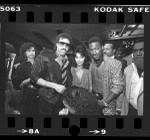 """Lionel Richie, Apollonia Kotero, and Eddie Murphy at premiere of motion picture """"Purple Rain"""" in Los Angeles, Calif., 1984"""