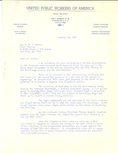 Letter from United Public Workers of America to W. E. B. Du Bois