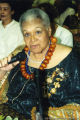 Katherine Dunham holding a microphone