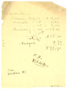 Money owed to W. E. B. Du Bois