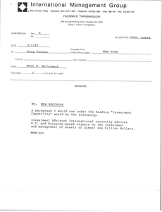 Fax from Mark H. McCormack to Doug Pirnie