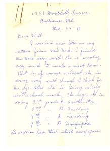 Letter from Nina Du Bois to W. E. B. Du Bois