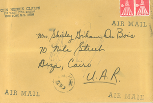 Manila envelope from John Henrik Clarke to Shirley Graham Du Bois