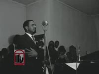 WSB-TV newsfilm clip of Dr. William G. Anderson, Albany Movement president, speaking about his experience jailed for a just cause and of Marion Page, Albany Movement executive secretary, speaking about results of negotiations with the city in a mass meeting held at Shiloh Baptist Church in Albany, Georgia, 1961 December 18