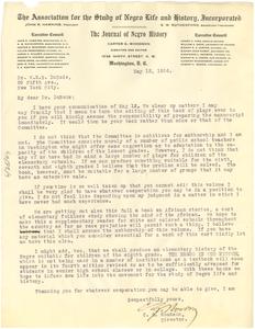 Letter from Carter G. Woodson to W. E. B. Du Bois