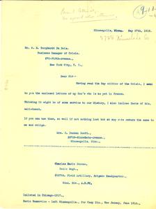 Letter from Mrs. R. Duncan Scott to W. E. B. Du Bois