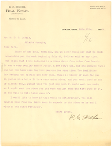 Letter from D. C. Fisher to W. E. B. Du Bois