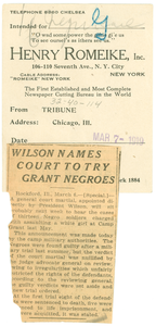 Wilson names court to try Grant Negroes