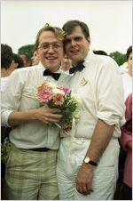 Partners Brad Pitts and Brad Herr participating in a gay-lesbian commitment ceremony, Piedmont Park, Atlanta, Georgia, June 22, 1991