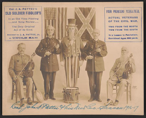 Col. J.A. Patee's Old Soldier Fiddler's in an old time fiddling and song review, the only original act of its kind Assisted by J.A. Pattee, Jr. as Uncle Sam /
