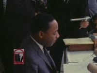 "WSB-TV newsfilm clip of Dr. Martin Luther King, Jr. speaking about ""black power"" and segregationist Lester Maddox's campaign for governor, Atlanta, Georgia, 1966 October 9"
