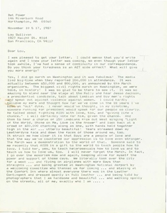 Letter from Bet to Lou (November 10 & 17, 1987)