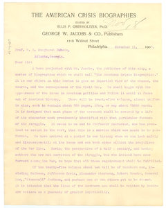 Letter from George W. Jacobs & Co. to W. E. B. Du Bois