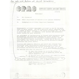 Citywide Parents' Advisory Council memo, January 27, 1978