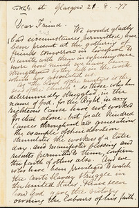 Letter from Eliza Wingham and Jane Wingham, Glasgow, [Scotland], to William Lloyd Garrison, [18]77 [August] 21